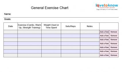 General Exercise Chart