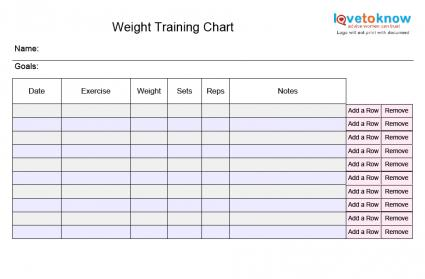 Blank Exercise Charts – Workout Char Template