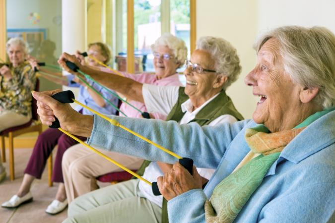 Elderly ladies exercising