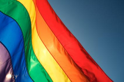 rainbow flag in sunlight