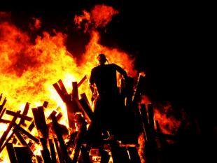 Effigy of Guy Fawkes on a Bonfire
