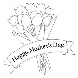 Line Drawing Mother's Day Flower Bouquet