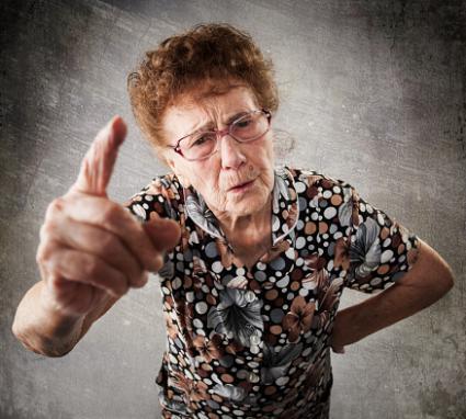 Older woman scolding
