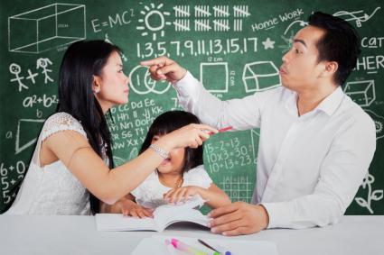 Couple quarrel in front of child