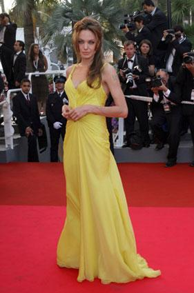 Angelina Jolie in yellow gown at Cannes Film Festival