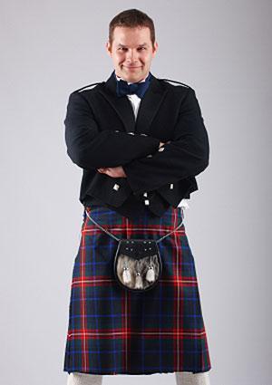 Scotsman wearing kilt.