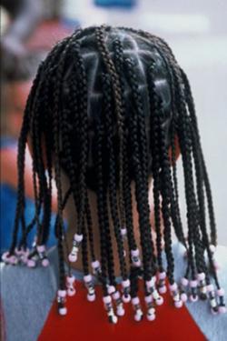 Beads in braided hair