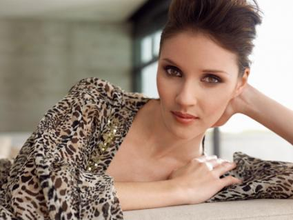 Woman with animal print clothing