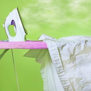 Ironing wrinkled blouse