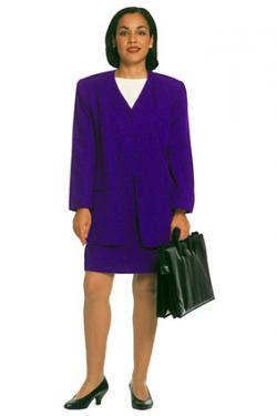 Woman in blue business suit