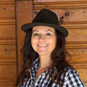 Woman wearing Bavarian hat