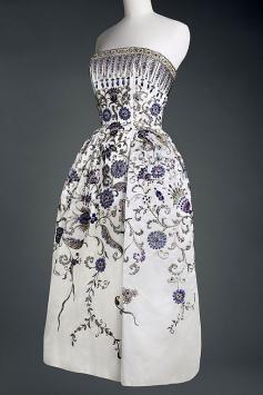 Christian Dior dress worn by Wallace, Duchess of Windsor and copied for Marlene Deitrich and Oona O'Neill