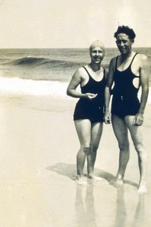 Couple on the beach, c. 1930