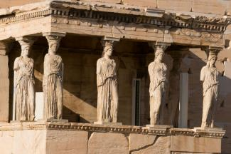 Porch of the Caryatids on Erechtheion temple, Acropolis, Athens, Greece built between 421 and 406 BCE
