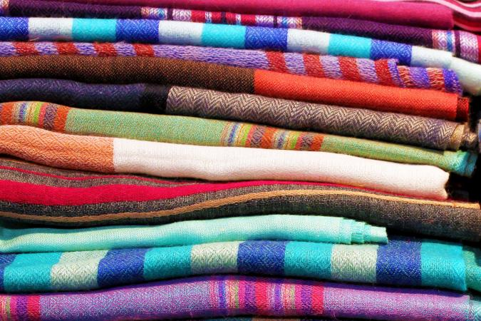 Colorful striped fabrics