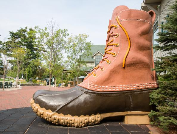 L.L. Bean boot replica outside its flagship store