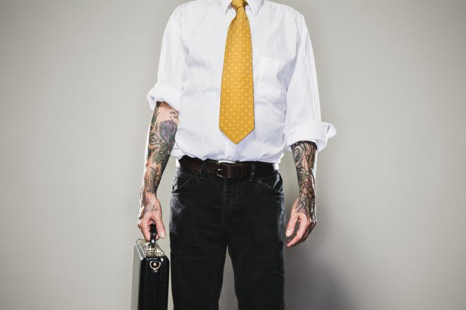professional showing tattoos