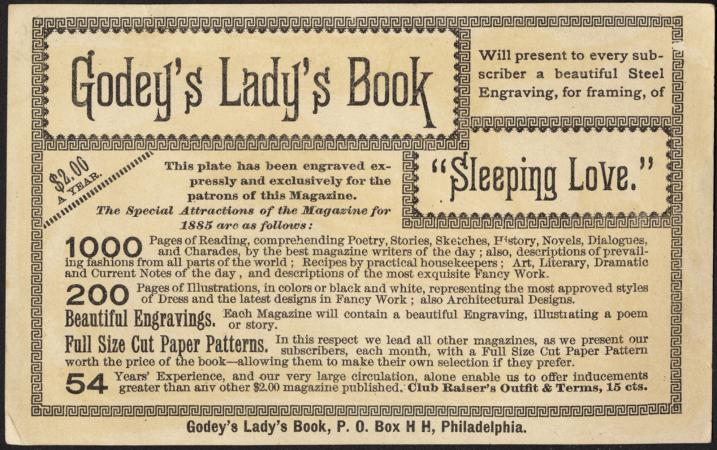 Sleeping Love, Godey's Lady's Book [back]