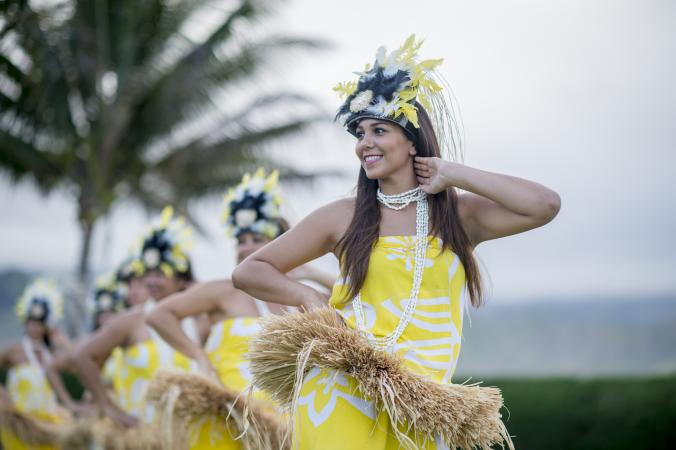 Women in Luau Headdresses