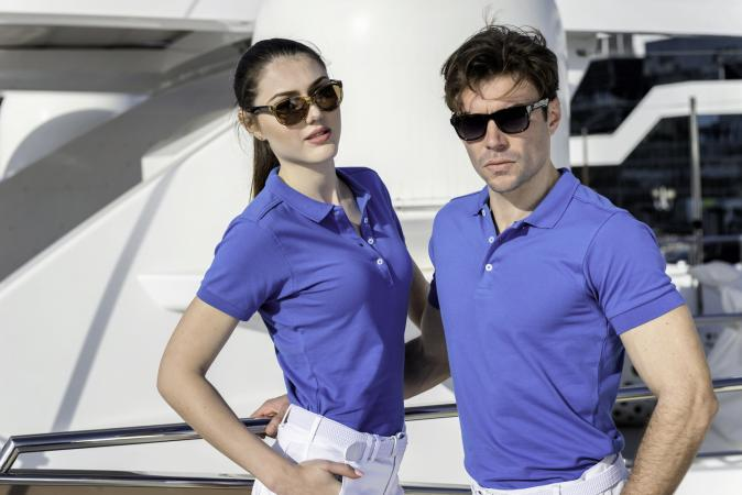 Man and woman wearing polo shirt