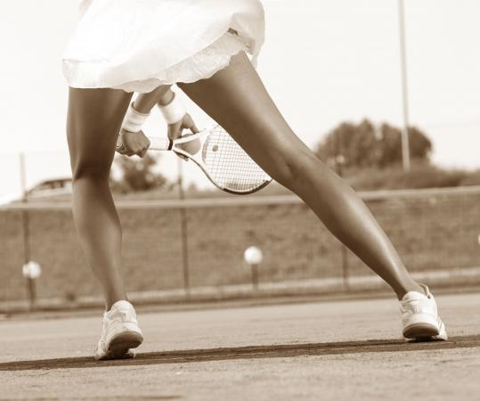 Female tennis player legs