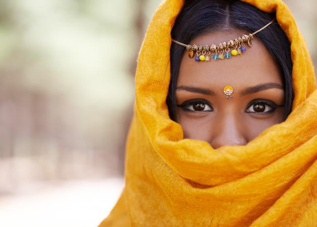 Indian woman wearing a veil