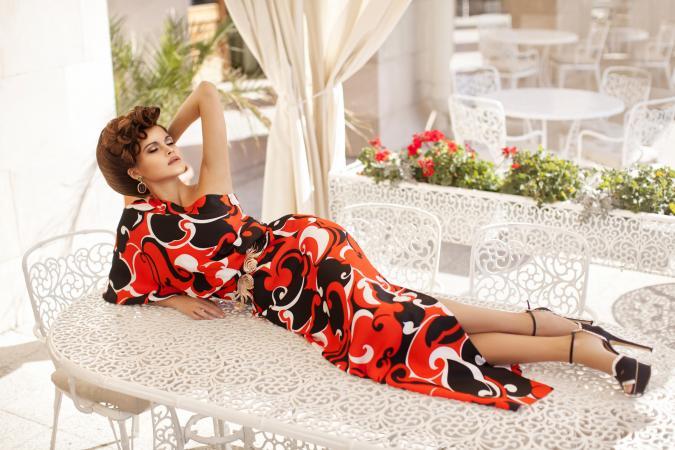 Woman wearing dress haute couture