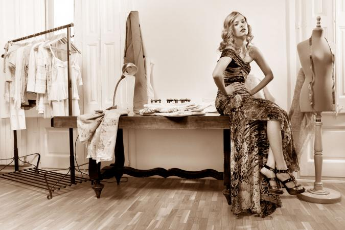 Woman in Haute Couture shop