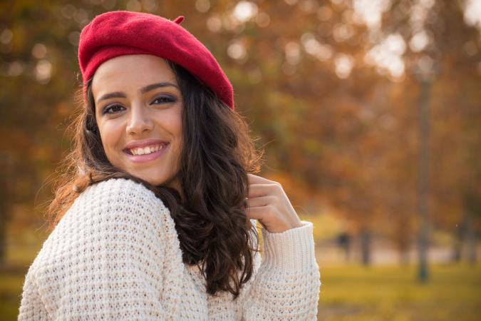 Young woman wearing a beret