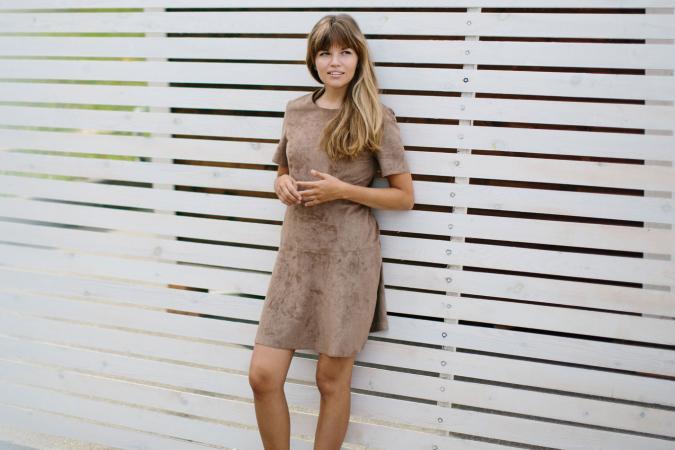 Girl wearing suede