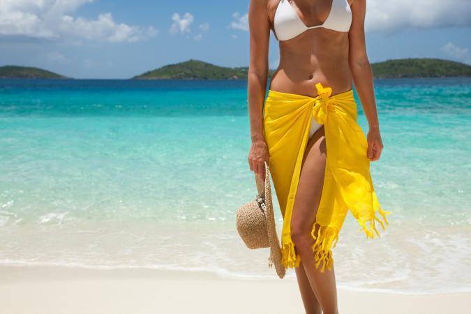 Woman in yellow sarong at beach