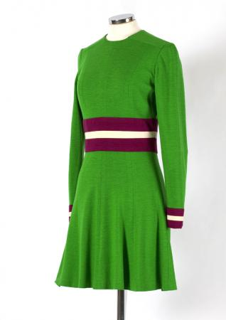 1960s Mary Quant minidress, green, purple and white jersey