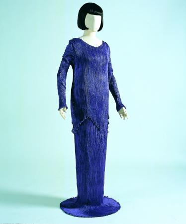 Purple silk Peplos dress by Mariano Fortuny
