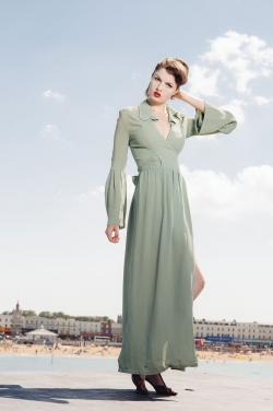 Green Ossie Clark dress, photo by Alan Langley at Dover Design for Madam Popoff Vintage