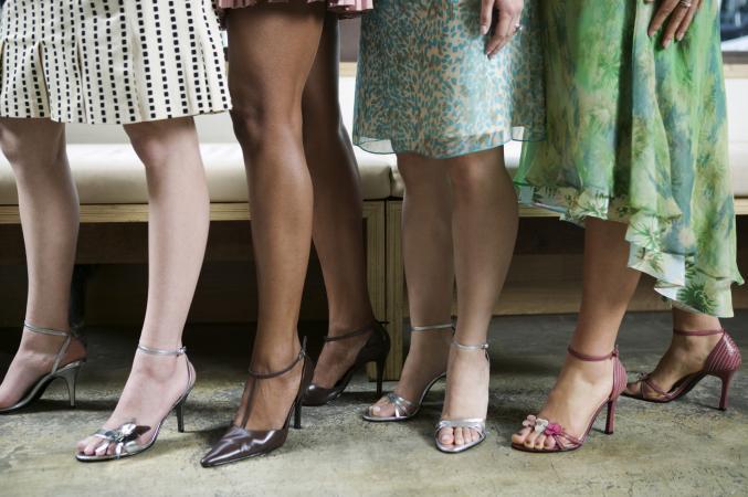 Women with various skirt hemlines