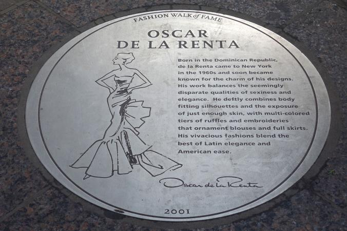 Plaque honoring designer Oscar de la Renta on the Fashion Walk of Fame in NYC