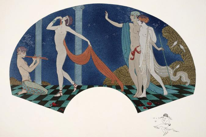 George Barbier, 1911, Fan from the House of Paquin with neoclassical design