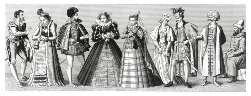 European costumes from XV and XVI century