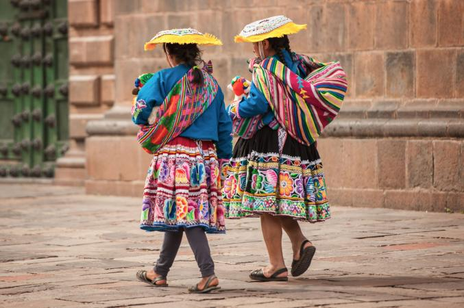 Women wearing colorful traditional clothing in Peru