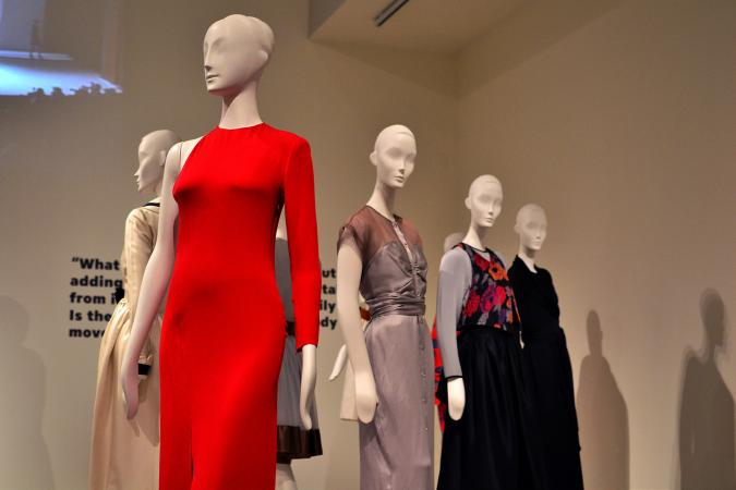 Dresses on display in the Geoffrey Beene fashion exhibit at Kent State Fashion Museum