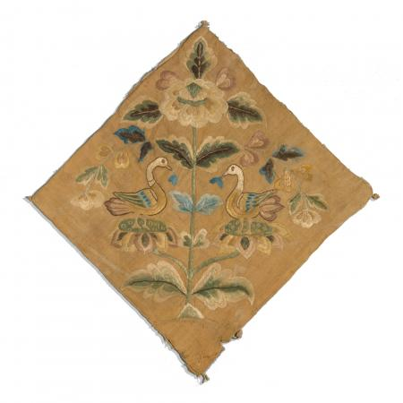 Tang Dynasty embroidery on plain-weave silk