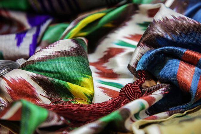 Uzbek patterned silk ikat fabric