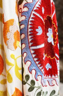 Colorful suzani - traditional Uzbek embroidery