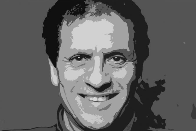 Black and white painting of Azzedine Alaïa