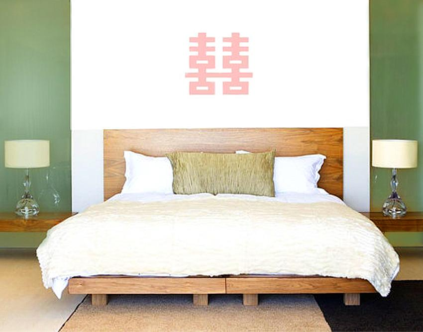 bedroom feng shui design. double happiness symbol above bed bedroom feng shui design b