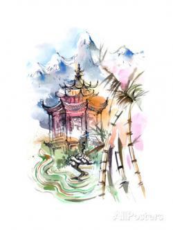 Asian Pagoda Print