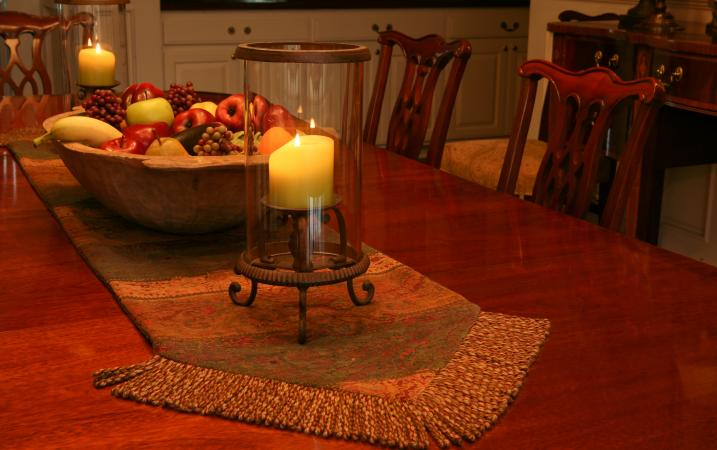candle on coffee table