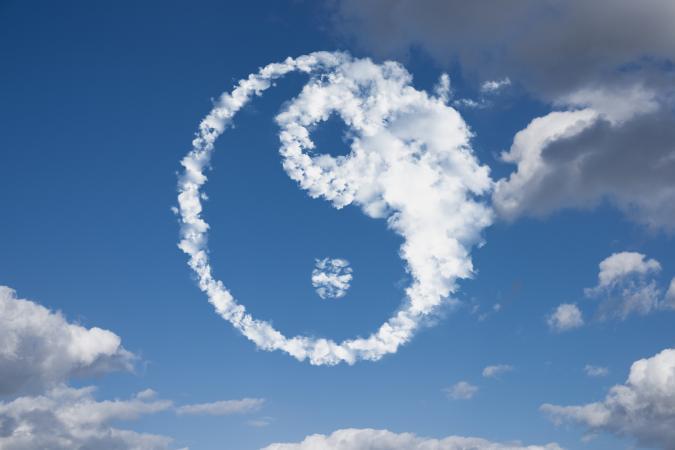 yin yang in clouds