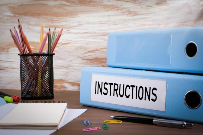 Instruction Binder on Desk