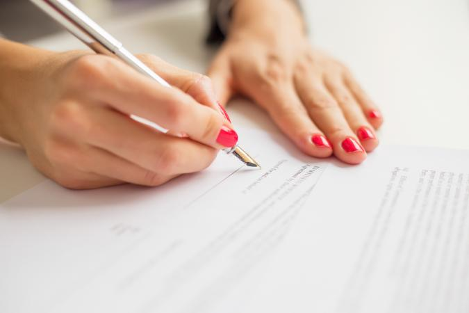 Female signing application